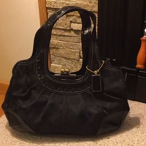 Unique Large Black Patent and Fabric Coach Bag